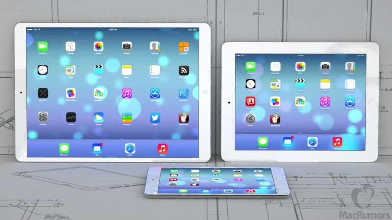 iPad maxi, ipad and iPad mini. (Photo MacRumors)