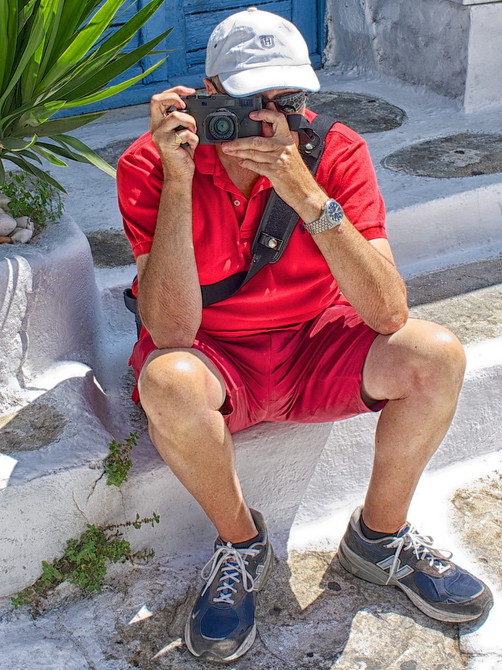 Caught in the act: Street photographer Evans caught behind the Leica Monochrom. Taken with Sony RX1