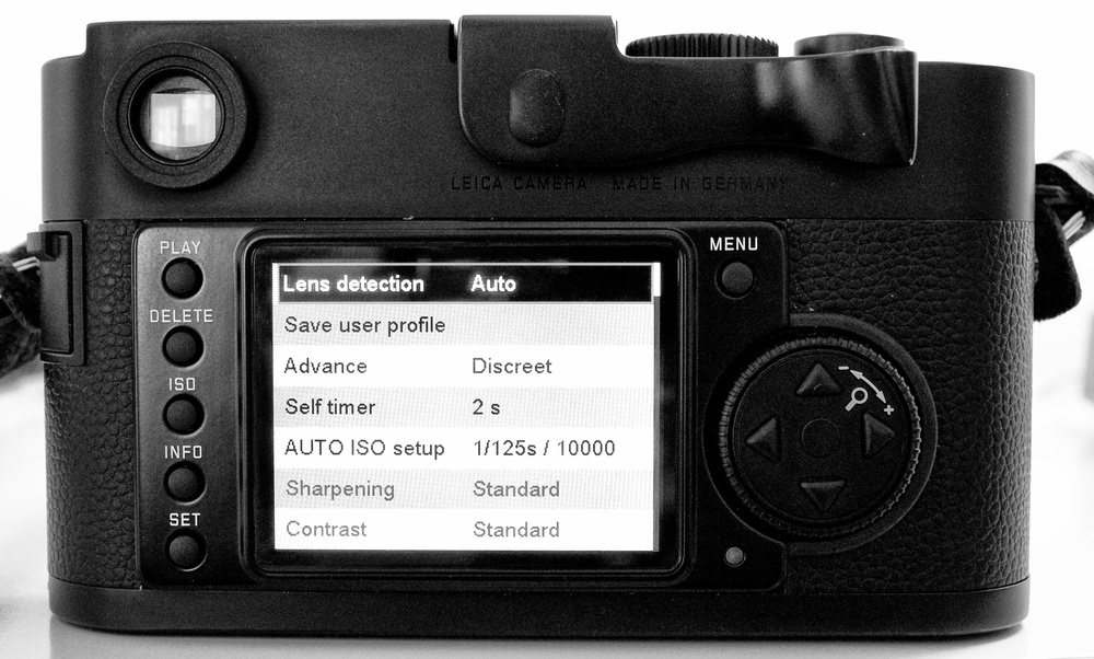 Leica Monochrom: Essential simplicity, one continuous menu with everything you need but not an adjustment too far. Above all, no maze-like sub menus