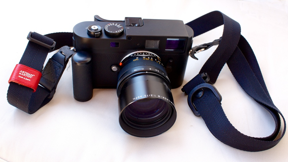 My Monochrom with 75mm APO Summicron. Note the old M8 grip and the Thumbs Up grip attached to the hot-shoe. I have since replaced the Artisan and Artist slider strap with one of my favoured braided straps from Barton1972.