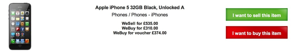 CEX offers £80 more for the same phone. But just look at the reselling price and weep. Who pays £535 for a one-year-old iPhone 5?