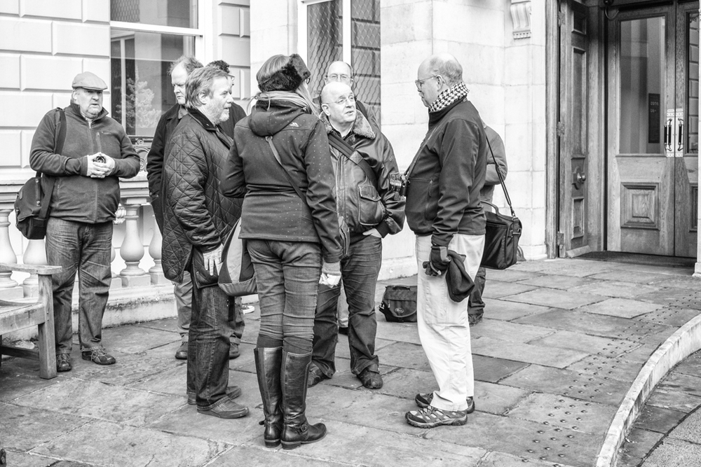 Leica forum members outside the Wallace Collection in Marylebone: Much chat and not so much photography (Photo Mike Evans)