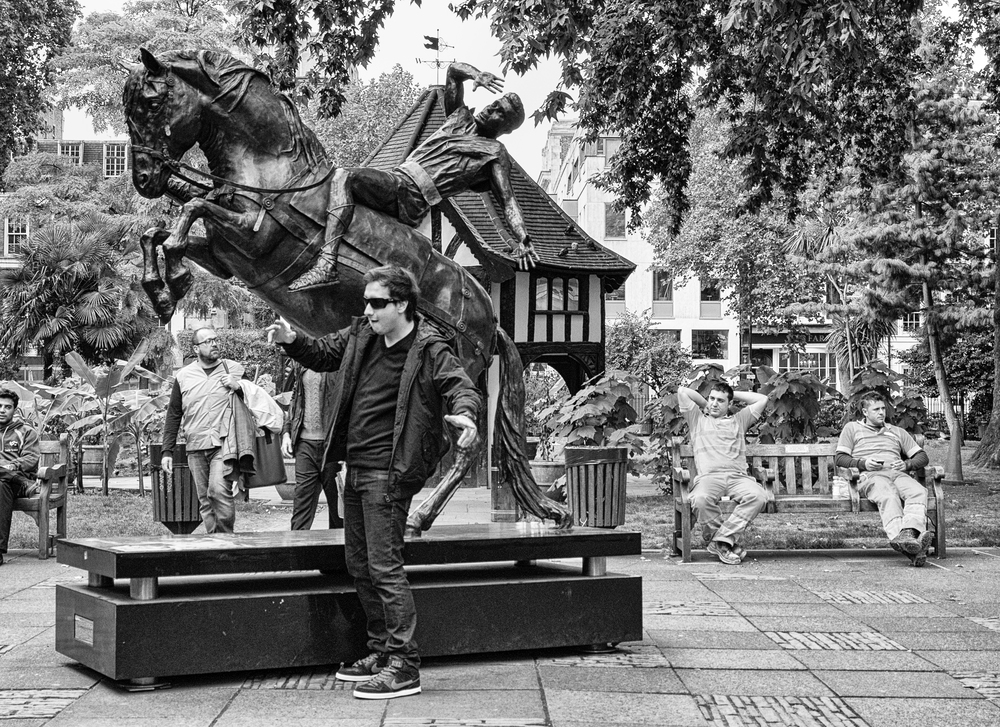 St. Paul's shocking experience on the road to Damascus draws mimics in Soho Square, London. B&W conversion in Silver Efex Pro