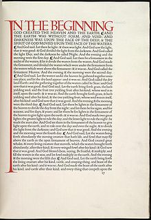 The opening of Genisis in the Dove Press English Bible is considered to be one of the world's finses printed pages