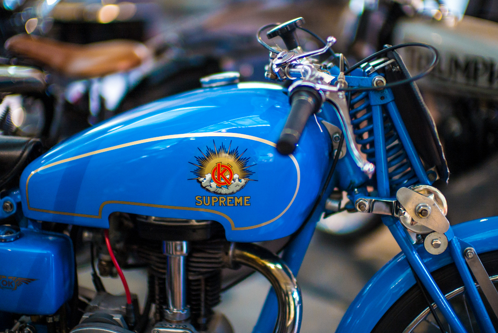 OK Supreme, Just one of the hundreds of  vintage motorcycles and cars at the Brooklands Museum. Photo: Leica M and Noctilux at f/0.95,  ISO 3200.