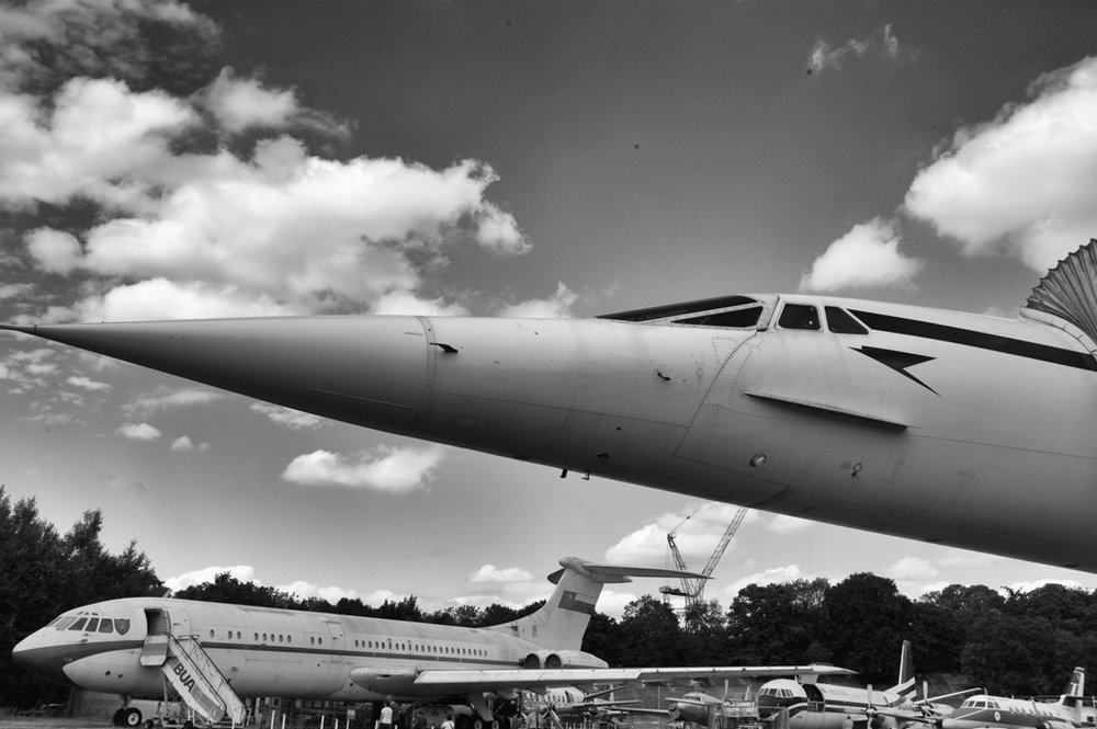 July 24, 2013 and the fallen angel, Concorde, snootily pokes her formidable nose into the air at Brooklands. Leica Monochrom and 35mm Summilux FLE