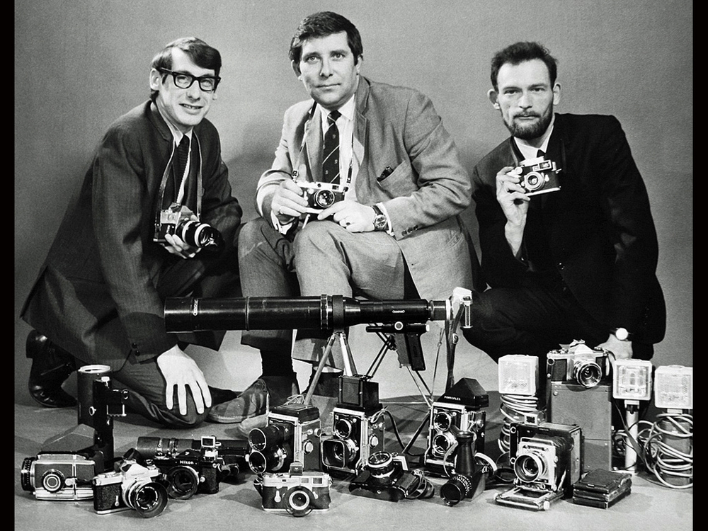 All the gear that's fit to print: Don Morley (far right) with his colleagues from United Newspapers equipped for the 1966 World Cup Final. On the left is Bob Austen who went to Australia to head up Murdoch's press photographic operationsand Peter Abbey (centre) who went on to become photographic manager for the Press Association. Don took this photograph using another of his Leicas while holding a long air release