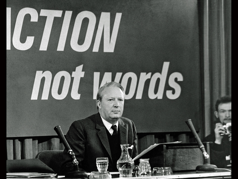 Don, edges into the frame with Prime Minister Edward Heath during the 1974 Winter of Discontent