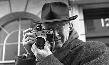 Henri Cartier-Bresson with his trusty Leica in 1957. Photograph: Jane Bown (via The Guardian)
