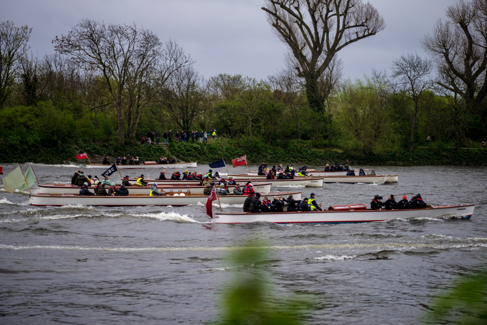 Behind the two Boat Race teams comes the much more colourful flotilla of hangers-on, journalists, officials and the great and the good of the Oxbridge world. Photo: Sony A7r with 90mm Leica APO-Summicron