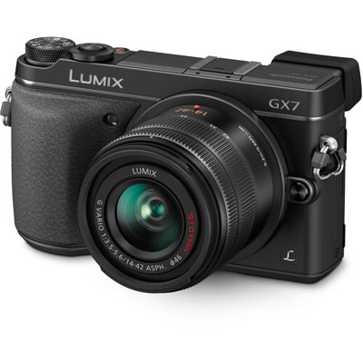 The Panasonic Lumix GX7 is my current favourite from the Micro Four Thirds camp. Small and light, it features a very useful tilting viewfinder