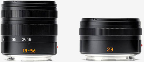 Two T-mount lenses at birth: The 18-56 (27-85mm) Vario-Elmar zoom and the 23mm (35mm) Summicron