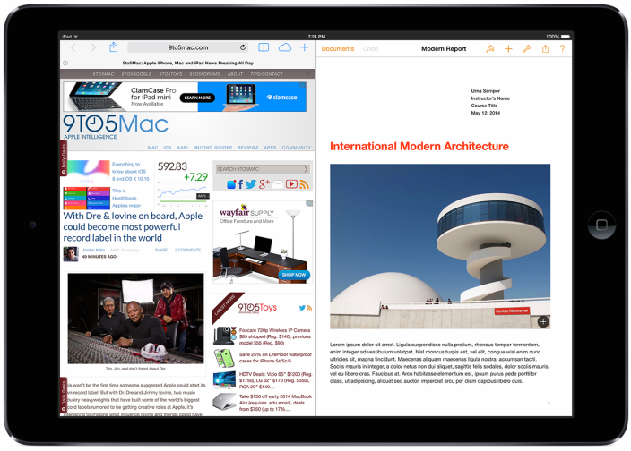 9to5 Mac's mockup of what the iPad Air could look like with side-by-side application windows