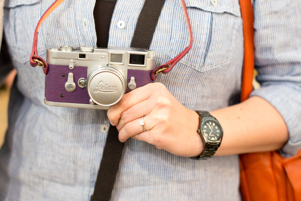 Purple Leica and the engagement ring on parade at the Photo Fair
