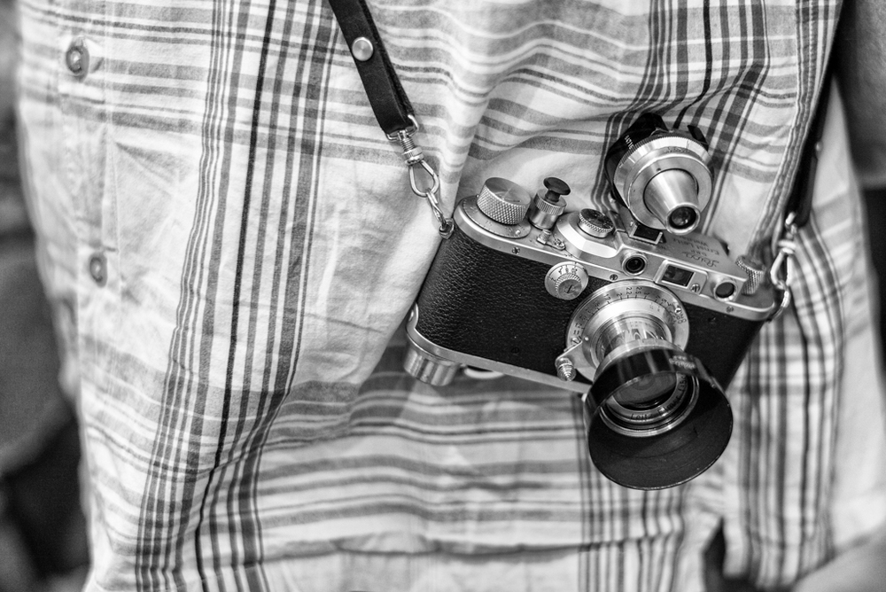 The owner of this near-mint 1939 Leica IIIc, bought it in a village jumble sale for just £15, It's a tough old world. He has since tricked it out with variable viewfinder and bottom-mounted rapid a lever wind. He much prefers vintage film to modern digital