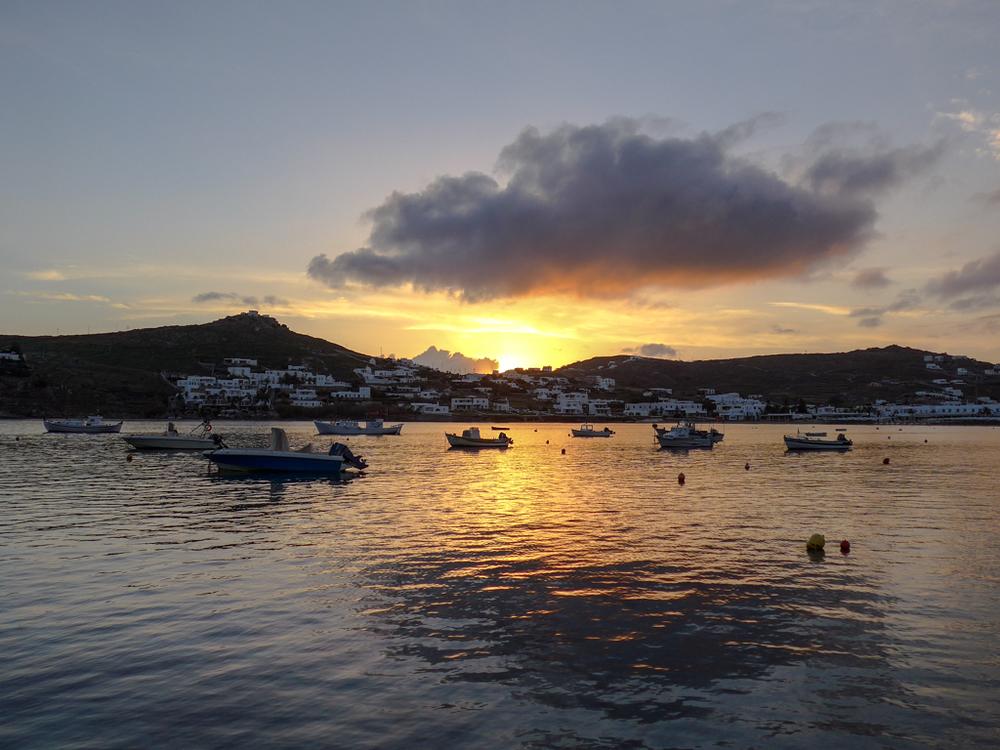 Sunset over Ornos Bay
