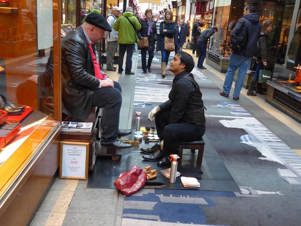 Boot black opposite the Leica Store in Burlington Arcade. London