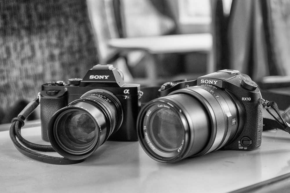 The Sony RX10, seen here alongside the full-frame A7r, is a hefty camera. The new Panasonic Lumix FZ1000 is a similar in size and a weight, around 800g, but three-quarters of the Sony's price