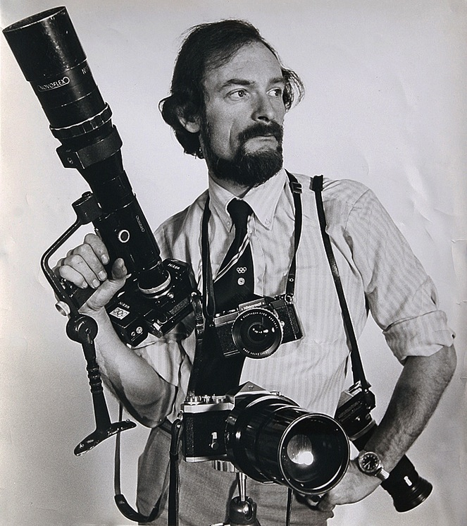 Don equipped for battle at the 1972 Munich Olympics. He was the press man who managed to get into the Athlete's Village and took the pictures of the hostage taking and the subsequent massacre. His photographs were used by most newspapers throughout the world