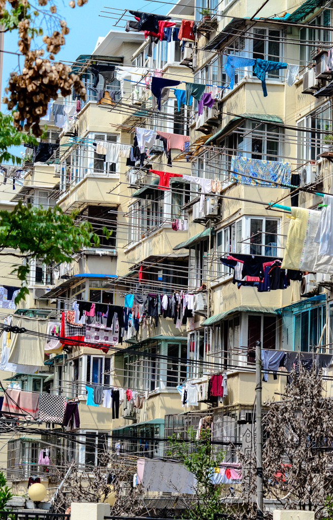 Washing day at a Shanghai apartment building