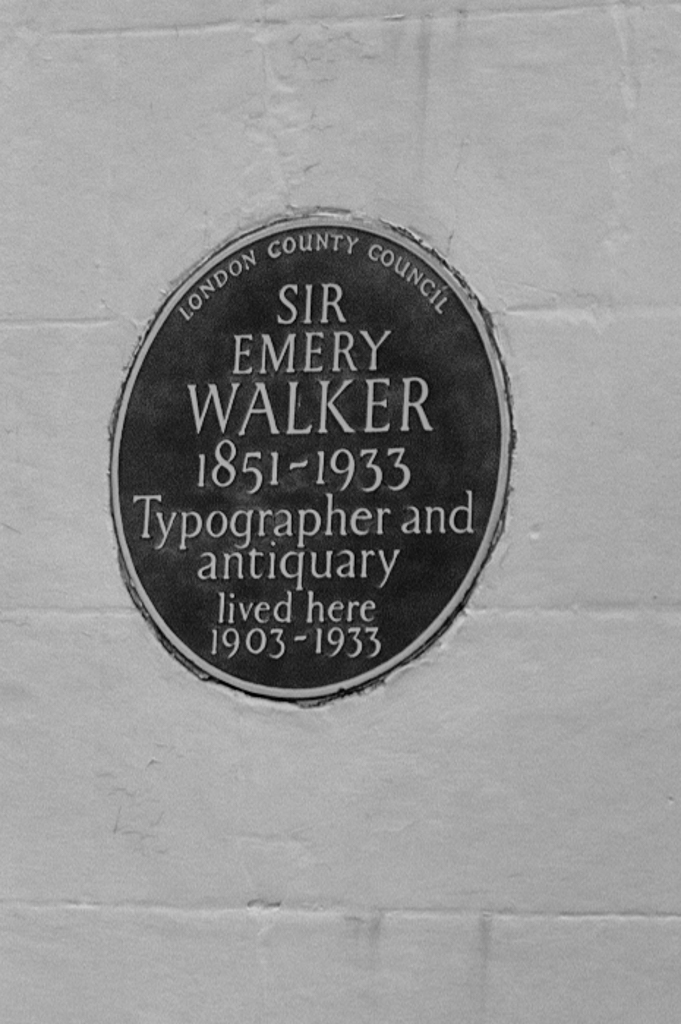 Half a mile upriver from The Dove lies the former home of Sir Emery Walker. Above: The commemorative plaque. Below: The large terraced housewhich backs onto the river in a magnificent location