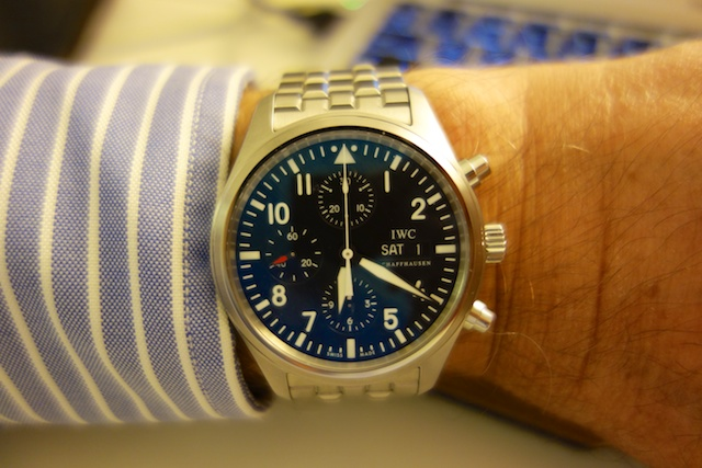 That space on my left wrist is valuable real estate. Can Apple's iWatch supplant the Swiss-made IWC Pilot's Chronograph in my affections?
