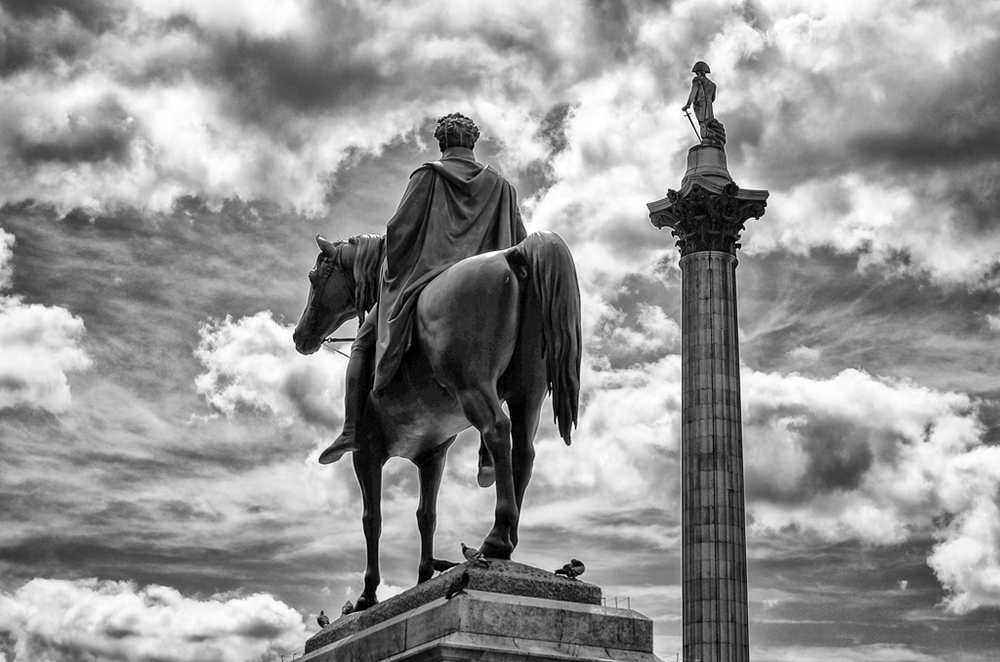 England Expects. Trafalgar Square, London. Vario-Elmar-T at 60mm. f/5.1 at 1/2500s, Silver Efex Pro preset