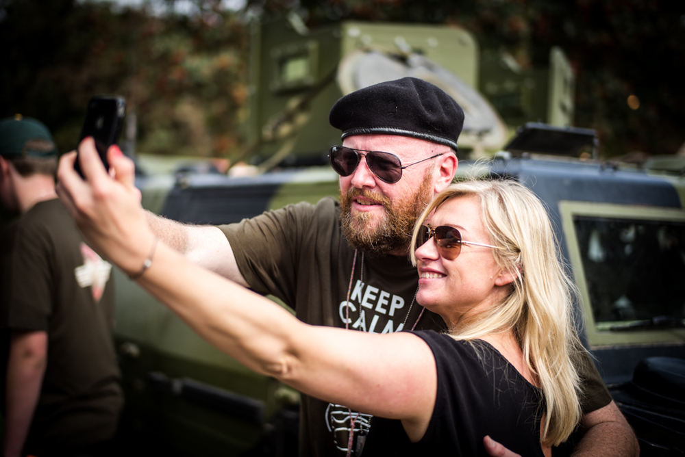 British chef Paul Cunningham, who now runs a leading restaurant in Jutland, manages a selfie with his Danish wife. His Hennedog pop-up restaurant with its Vietnamese military theme was a highlight of the festival