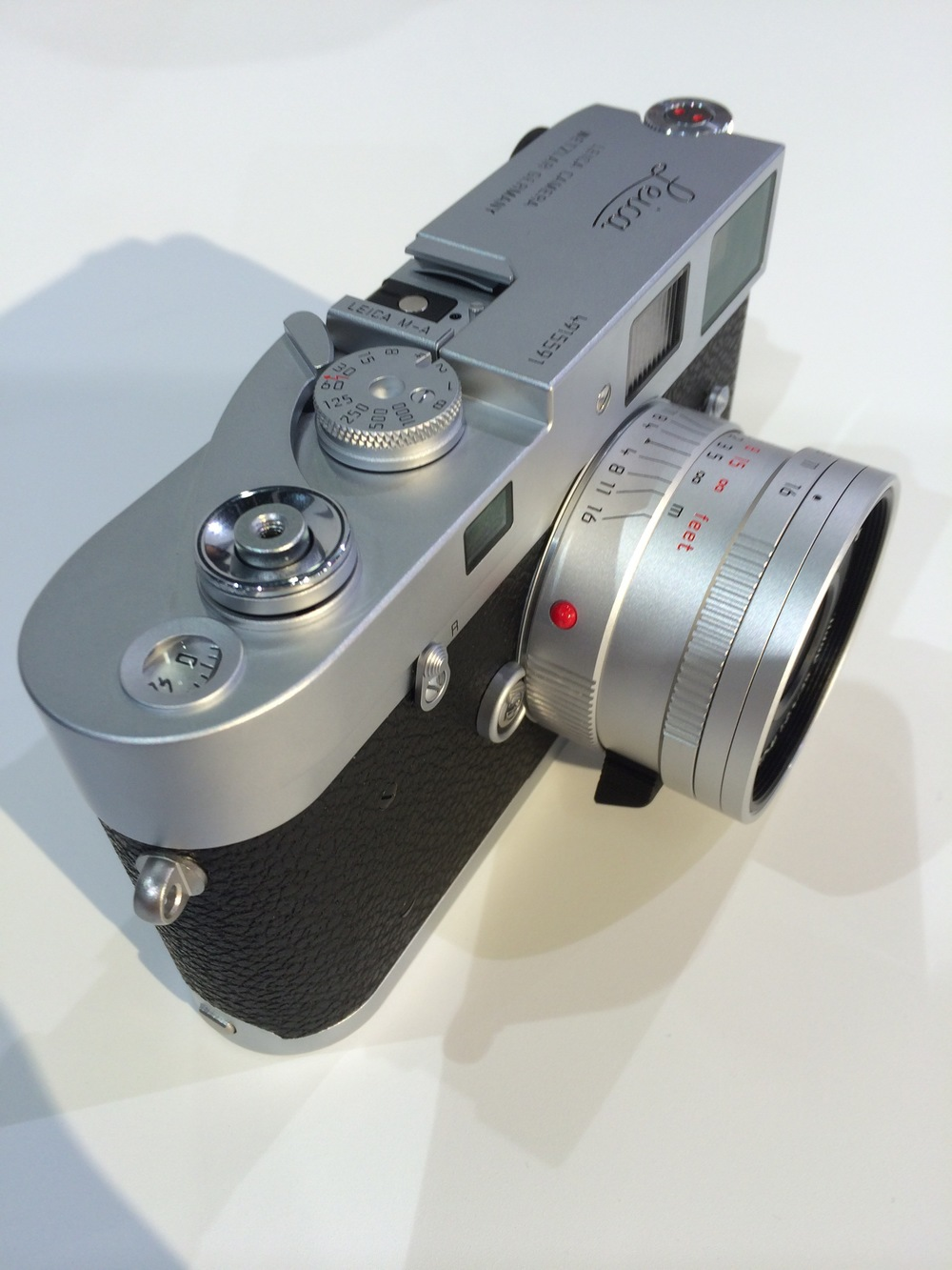 The neat and businesslike f/2.4 50mm Summarit mounted on the new Leica M-A film camera. These new silver lenses will be popular among owners of silver Ms of all ages (Photo iPhone)