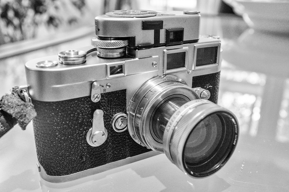 The Frankencamera Leica M3 will not feature a light meter but there are solutions, such as this 1960s Leica-Meter MR mounted on Mike Evans' 1954 double-stroke M3. Lens is a pre-war Summitar