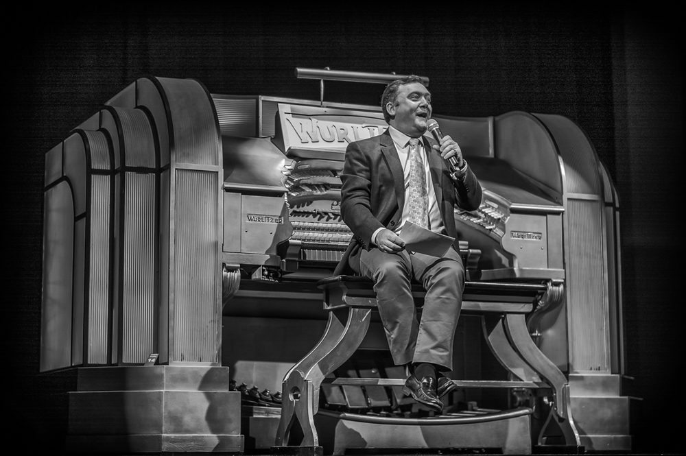 Donald MacKenzie, resident organist at The Odeon, Leicester Square, introduces the afternoon's silent movies at the Musical Museum, Brentford, home of the Mighty Wurlitzer (Leica Monochrom and 50mm Summilux, f/1.4 at 1/180s, ISO 320)