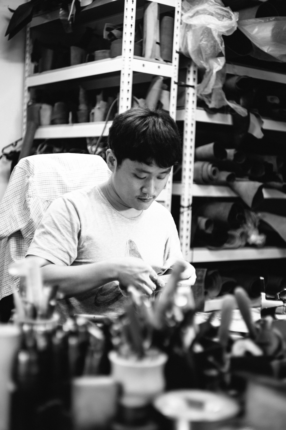 Sejun Kim at his workshop in Seoul, South Korea. I've corresponded with Sejun for a long time but have never met him, nor seen a photograph until now. I had imagined a wizened old craftsman hunched over his traditional Korean workbench. But reality is obviously far different. Every case you order gets Sejun Kim's personal attention and his obsessive eye for detail