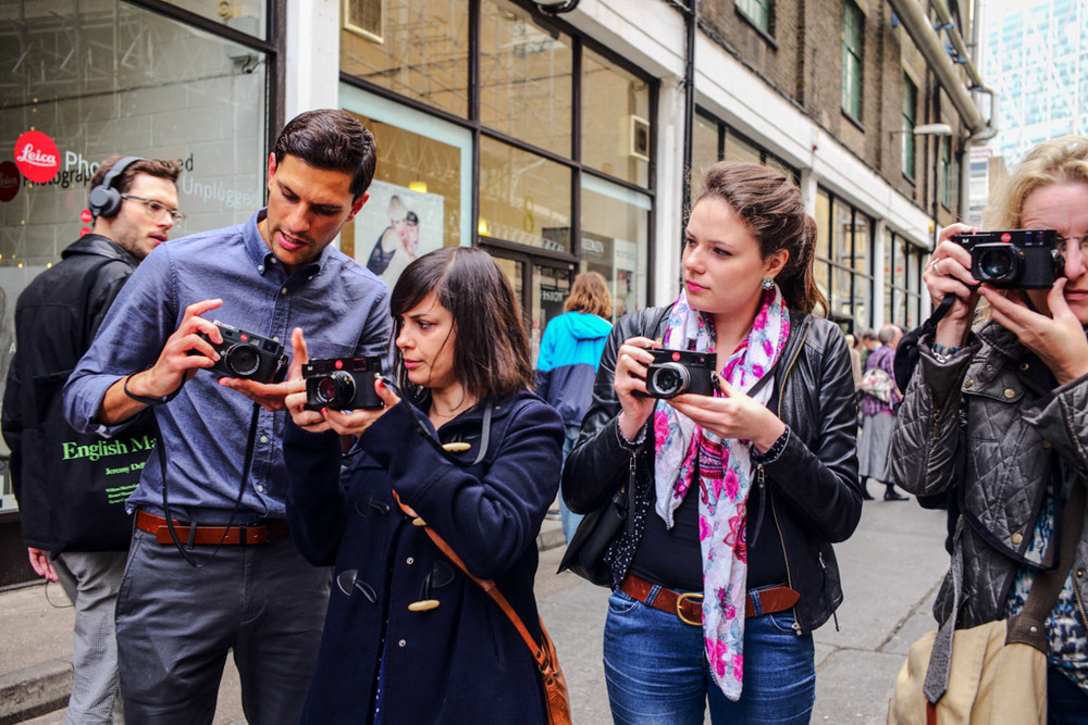 Leica newcomers get their first hands-on with the M at Leica's recent Brick Lane event. The iconic Leica red dot stands out, even from a distance. With the more discreet M-P, the camera is all but anonymous, something that many buyers prefer (taken with M-P and 35mm Summicron)
