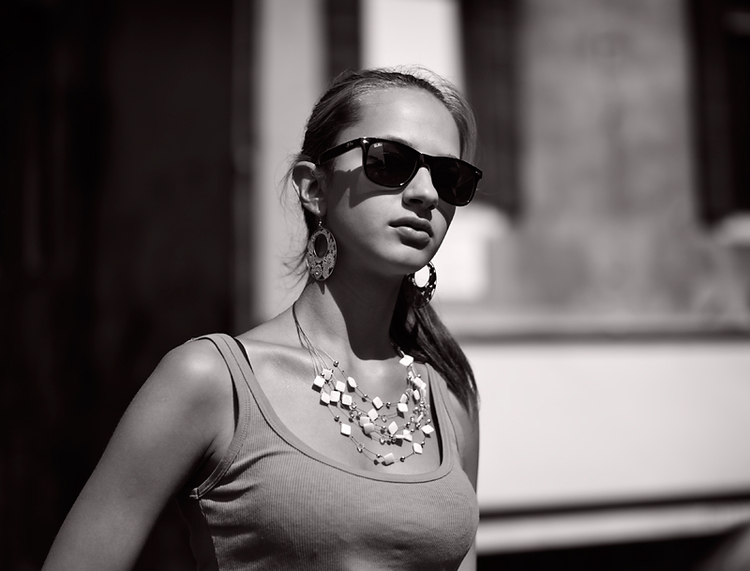 Girl With Sunglasses: Photograph by George James, Leica Monochrom with 35mm Summilux