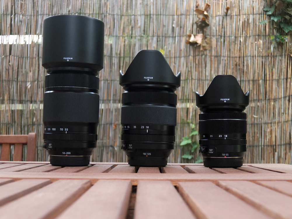 Size comparison: 55-200mm, 18-135mm and 18-55mm: Fuji's core zooms for the X-series