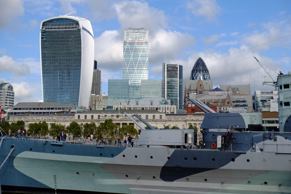 London cityscape with HMS Belfast in the foreground taken by Bill Palmer