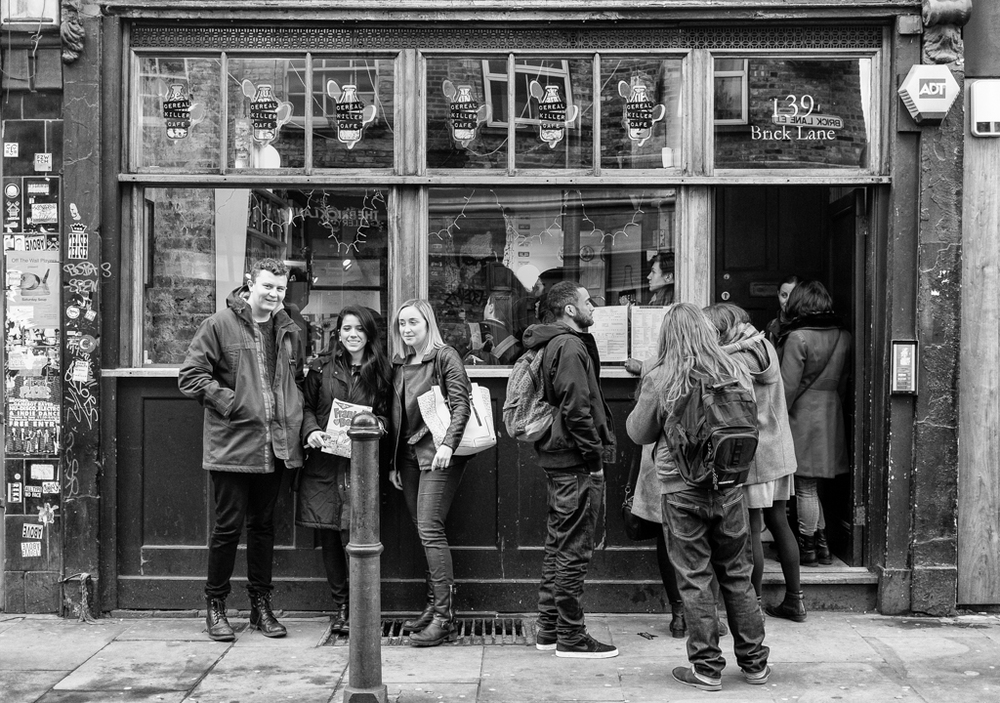 Cereal killing yesterday in Brick Lane, too busy to enter. (Photo: Mike Evans (Fuji X-T1 and 27mm Fujinon)