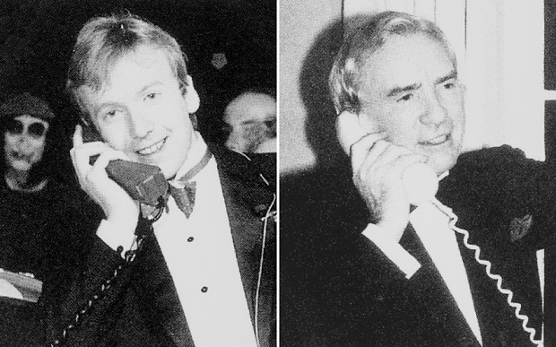 Michael Harrison, left, calls his father, Sir Ernest Harrison, chairman of Vodafone, just after midnight on January 1, 1985 (Photo: Vodafone)