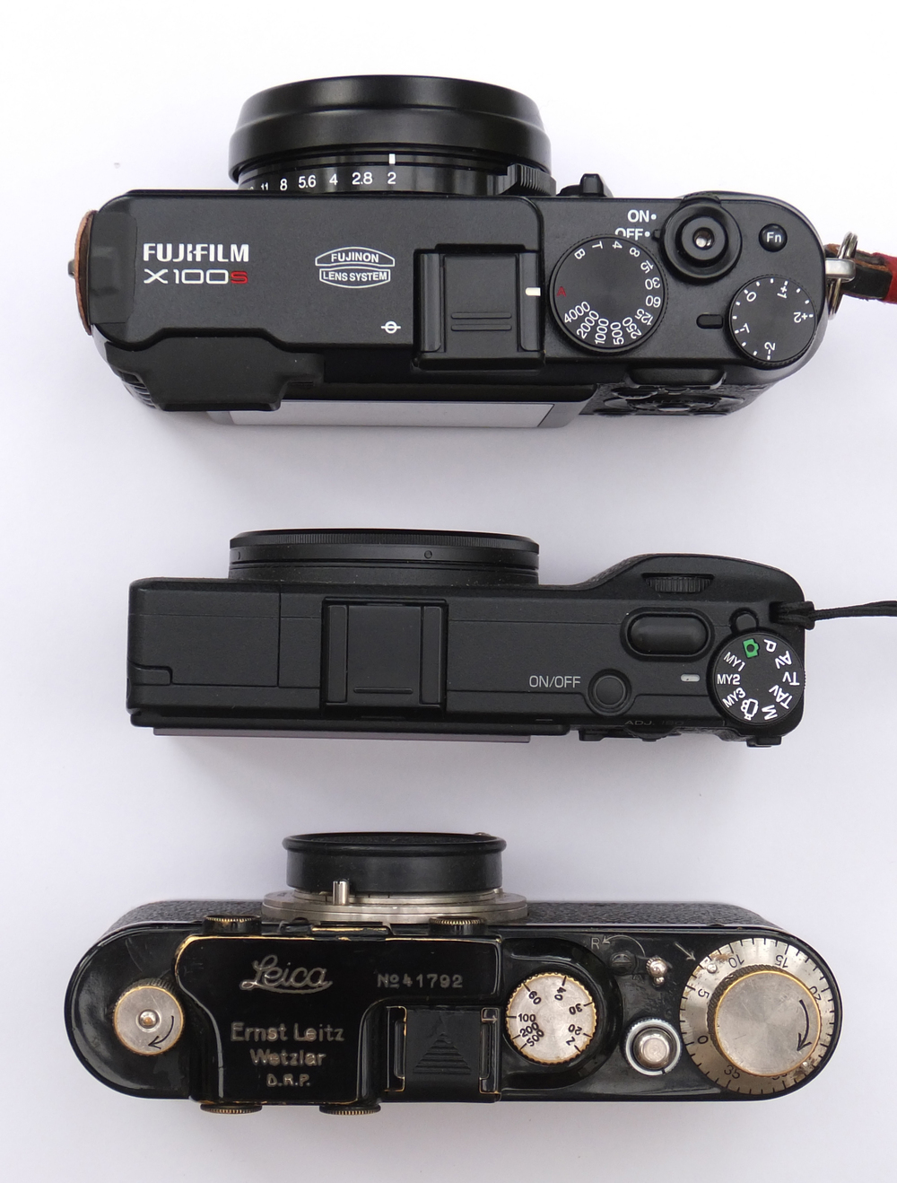 Fuji X100S (top), Ricoh GR and Leica IID