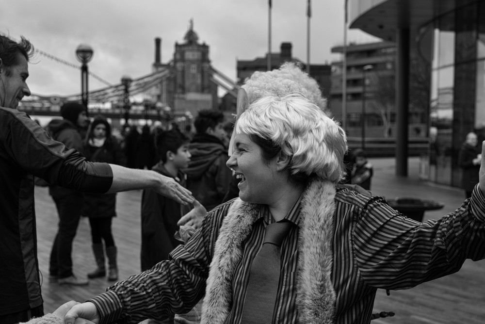 A group of ecowarriors in Boris wigs wage an anti-Mayoral demo in front of City Hall. We didn't find out why.  Photo Mike Evans, Leica M-P and 50mm Apo-Summicron