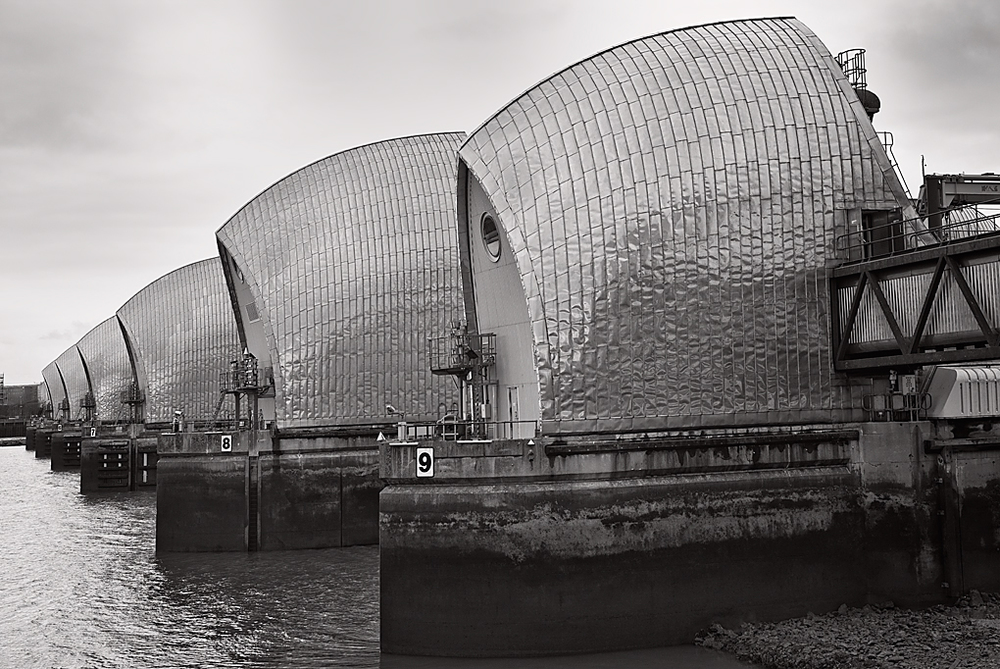 At last: The Thames Barrier as it watches over London. Photo George James