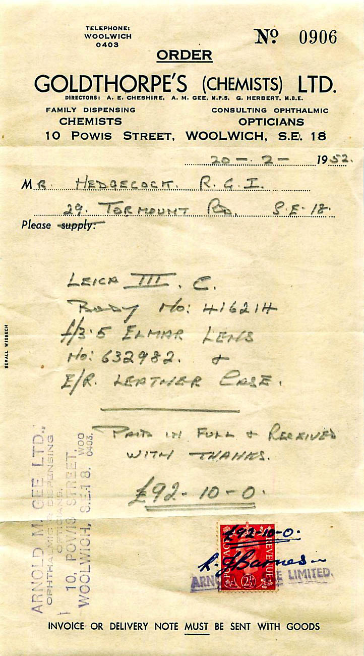 This receipt would not have been valid at the time without the affixing and cancelling of a two-penny stamp. Messrs. Goldthorpe (or was it Arnold M.Gee Ltd?) were clearly profligate in using a 2½d stamp but then they had just sold a very expensive camera