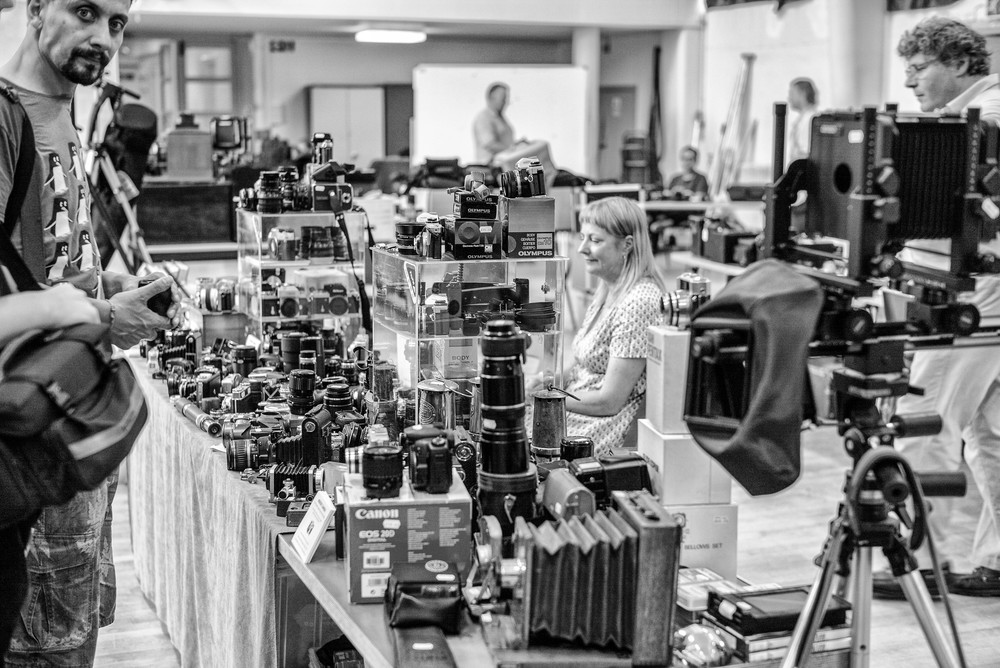 Camera fairs take place all over the country and offer an eclectic mix of old and new cameras and accessories to appeal to the enthusiast. This is the popular South London Camera Fair which takes place several times a year (Photo Mike Evans, Leica M and 50mm Summilux)