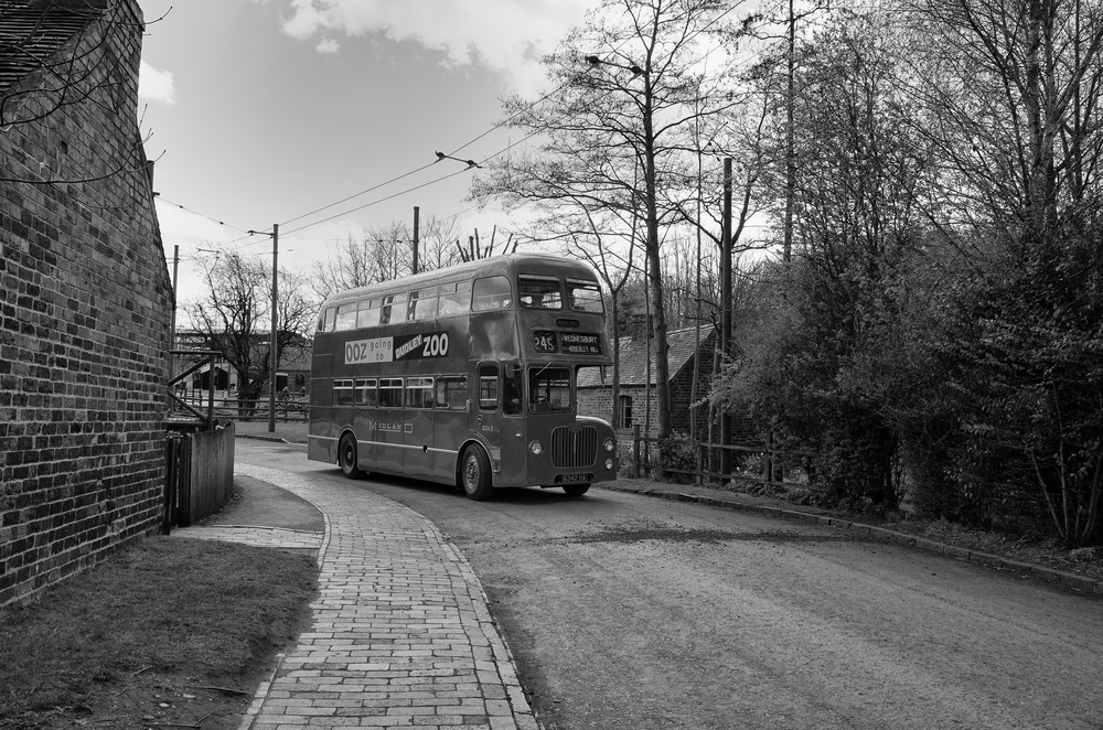 A regular vintage bus service to the village, supplemented at weekends by trams and trolley buses. Photo Ricoh GR