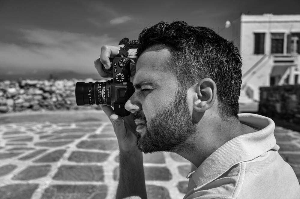 Kostas Tolias tries out my review camera, a Sony A7II with Leica 50mm Summilux ASPH