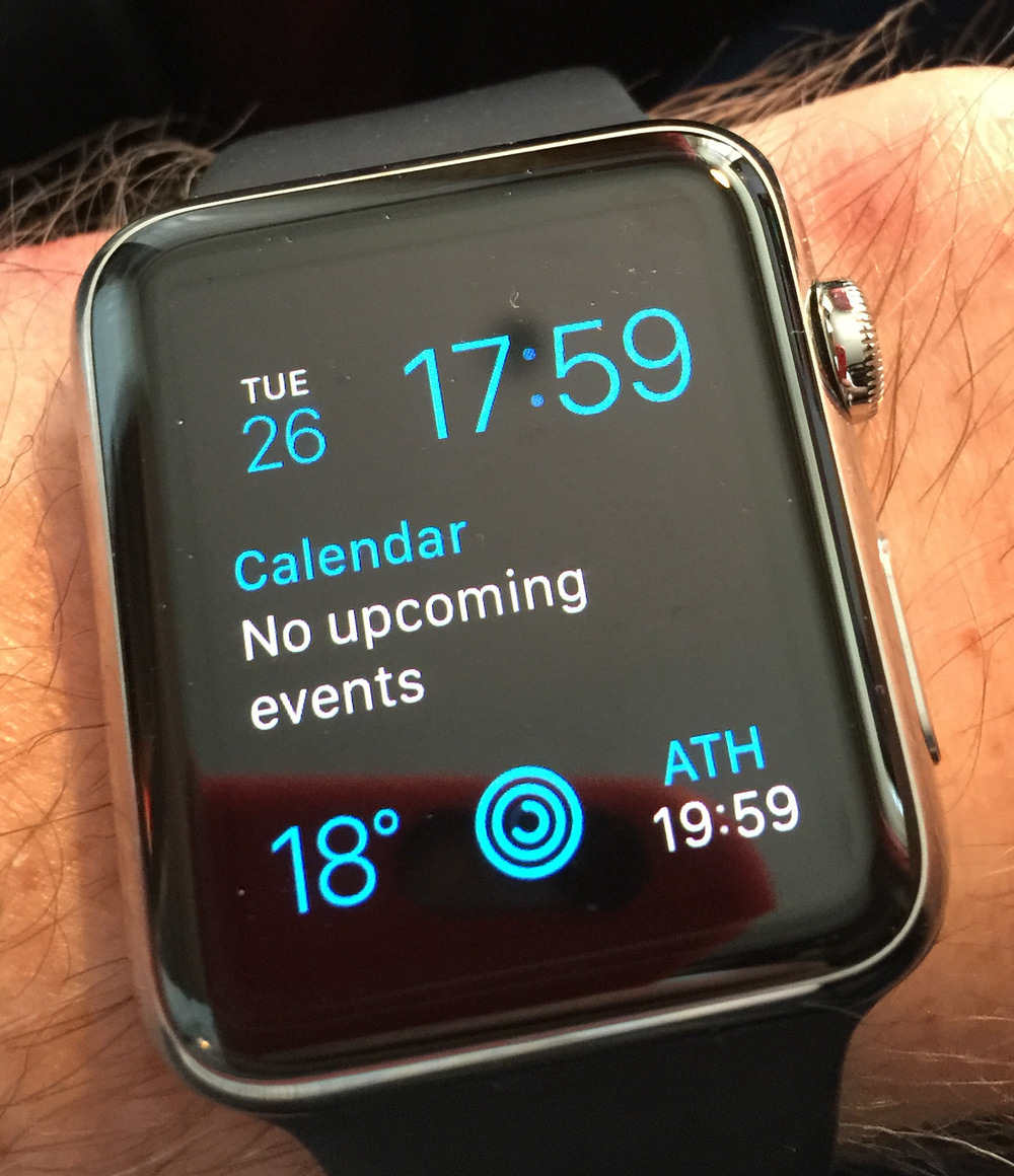 You don't have to use a traditional watch face. Perhaps this iPhone-style display gives a better overview of your day, including date, calendar events, weather, activity and world clock