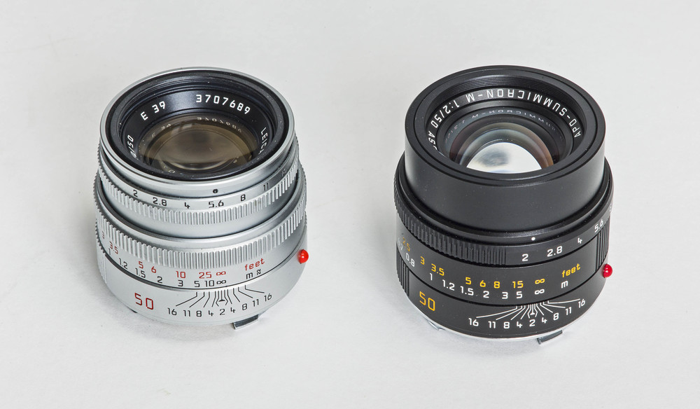 The regular 50mm Summicron-M in silver alongside the new 50mm APO-Summicron-M ASPH (©Brian Bower FRPS)