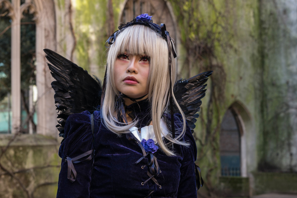 Angel at the churchyard of St. Dunstan-in-the-East, City of London.  M-P, f/8 at 1/90s, ISO 650 ©Mike Evans