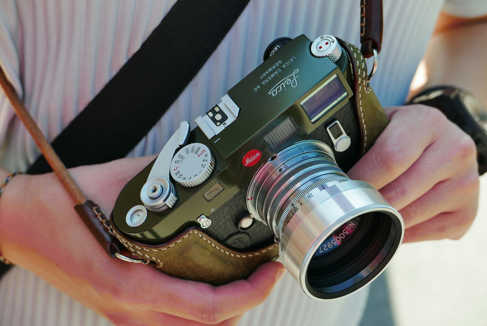 Some very interesting cameras were being worn like jewellery, including this beautiful M7 a la carte in military green and with an MP rewind crank. This particular example was in the hands of Gilbert Yuen, a Leica dealer in Hong Kong