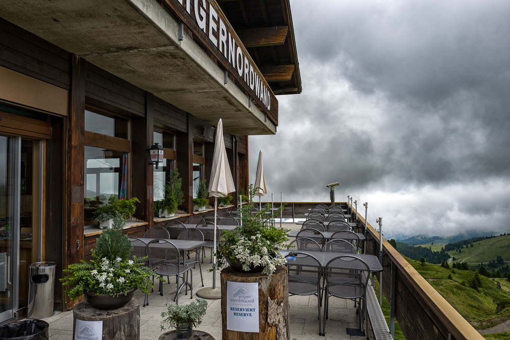 Empty terrace of the Eiger North Face restaurant, near Kleine Scheidegg, awaiting a hungry trainload of Japanese tourists trekking up from Grindelwald.